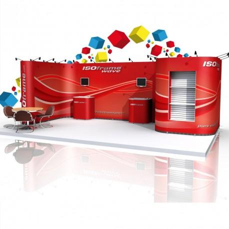 Stand 36m² avec une grande  réserve et 2 pôles audiovisuels