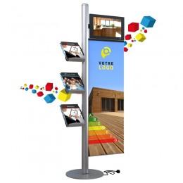 Porte-brochures avec écran intégré et kakemono