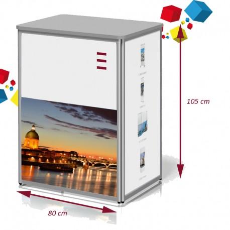 Comptoir de stand  droit 80 x 105 cm pliable en aluminium
