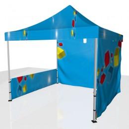 Tente 1 demi-côtés + toit + fond personnalisée