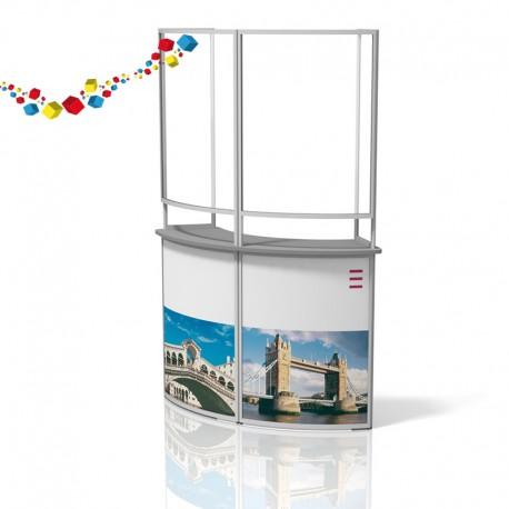 Comptoir de stand courbe pliable avec écran de protection