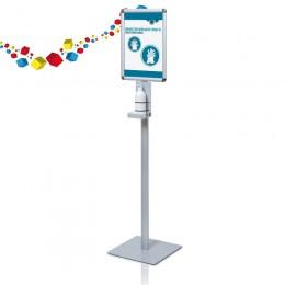 Support gel hydroalcoolique sur pieds +affiche