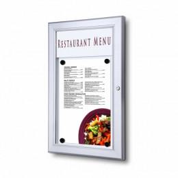Porte menu mural en aluminium format portrait avec éclairage