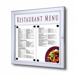 Porte menu mural en aluminium format paysage avec éclairage