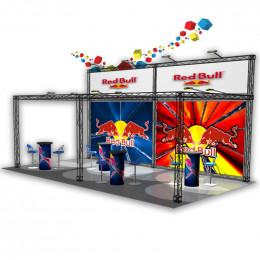 Stand modulaire 18m² en pont lumière et visuel en hauteur