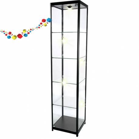 Vitrine d'exposition noire en verre et avec éclairage