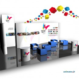Stand modulaire pliable de 21 m² en forme de vague
