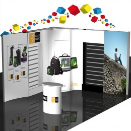 Stand modulaire 9m² avec panneau rainuré et réserve