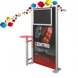Stand en aluminium droit avec écran 32 pouces et tablette de présentation