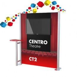 Stand en aluminium droit avec écran 42 pouces et tablette de présentation