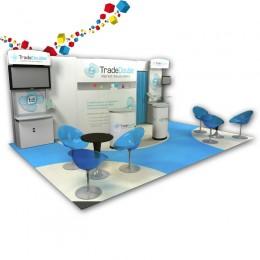 Stand pliable et modulable de 24 m² avec une réserve et 2 écrans