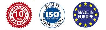 Logo Iso9001 et garantie 10 ans